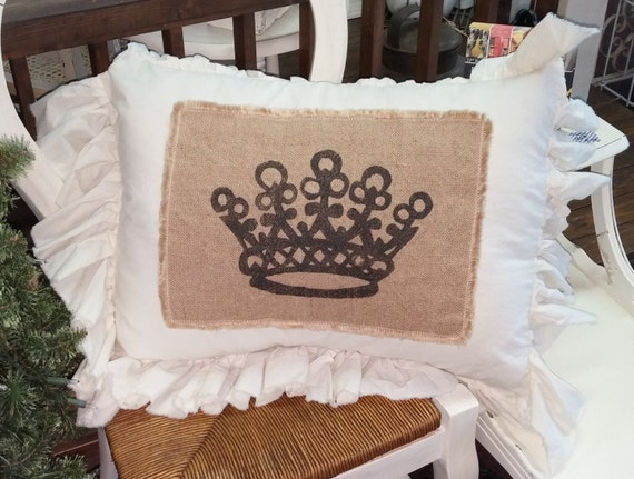 Pillow Slip Cover Pillow Sham  Burlap Muslin Pillow Sham PILLOW CASE Queen's CROWN design