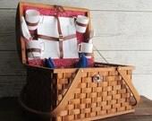 Vintage Picnic Basket - Family Size - Fourth of July - picnic basket