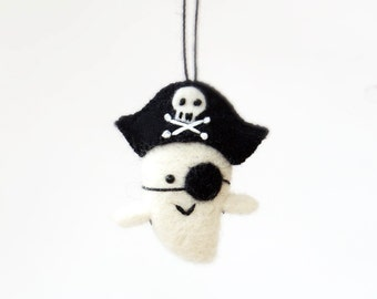 Miniature Halloween Pirate ghost figurine with a pirate hat, small needle felted ornament, small gift
