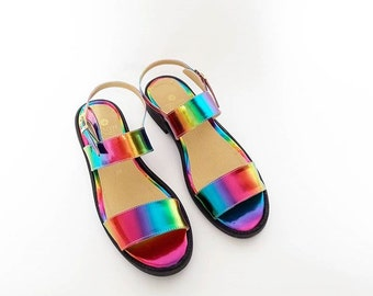 Rainbow Olympia Faux Leather Sandals (Handmade to Order)