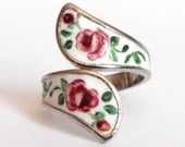 Sterling Floral Enamel Wrap Bypass Spoon Ring