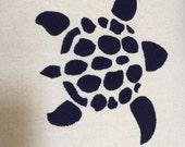 Turtle stencil design on beige  18 x 18 accent decorative handmade pillow cover, toss pillow, throw pillow, sofa pillows