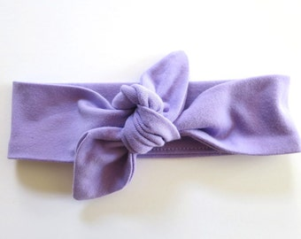 Lavender Baby Headband - Top Knot Headband - Stretch Headband Vintage Style - Boho Baby - Light Purple - Lilac - Pastel Violet