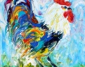 Reserved for Ressa Final payment for custom rooster painting by Karen Tarlton
