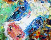 Original oil painting Happy Cow Portrait abstract impressionism fine art impasto on canvas by Karen Tarlton