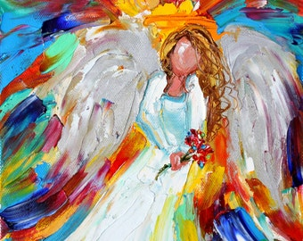 Original oil painting Angel with Flowers abstract palette knife impressionism on canvas fine art by Karen Tarlton
