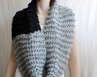 Knit  Wool Infinity Scarf,   oversized  chunky cowl,     double wool wrap, womens cowl,   grey charcoal two tone scarf