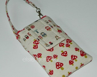 Matroska Phone Case with Wristlet  SALE Save 10.00  Natural & Red Japanese Linen with Wristlet Ready to Ship iPhone 4 5 - Ready to Ship