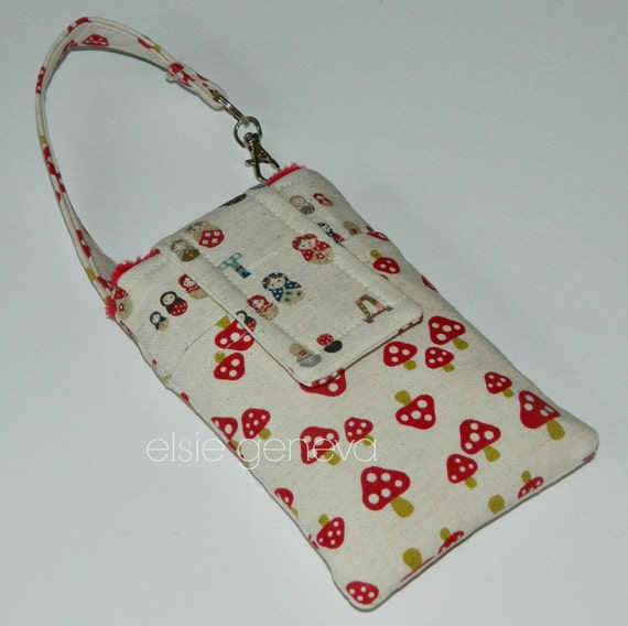 Matroska Phone Case Russian Dolls SALE Save 10.00  Natural & Red Japanese Linen with Wristlet Ready to Ship iPhone 4 5
