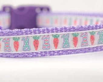 "Little Chevron Bunny Dog Collar - 5/8"" inch wide Dog Collar - Easter dog collar - spring dog collar - purple dog collar - easter bunny dog"