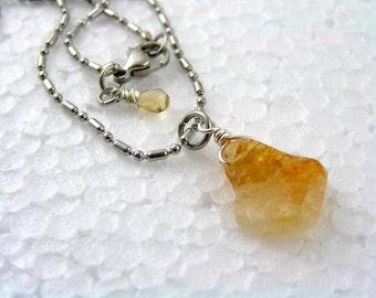Citrine Necklace, Citrine Jewelry, Yellow Quartz Necklace, Gemstone Nugget, Gem Jewelry, Gem Necklace, November Birthstone Necklace