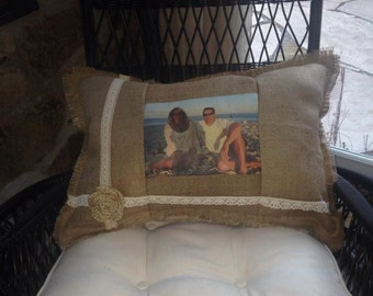 custom memory Burlap pillow