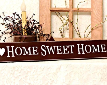 Home Sweet Home - Primitive Country Painted Sign, Country decor, Home Sign, Farmhouse Decor, housewarming gift, Hostess Gift