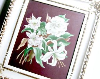 Framed Vintage Print, Framed White Flowers, Turner Floral Print, Ornate Framed White Floral Print,  Framed Floral Print, Art Deco Print