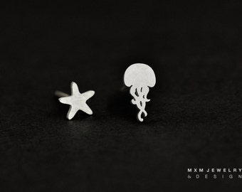 Sterling Silver Jellyfish & Starfish Stud Earrings
