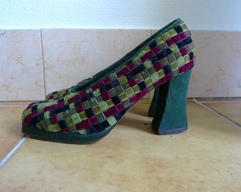 SALE  Stephane Kelian suede and latticed velvet shoes