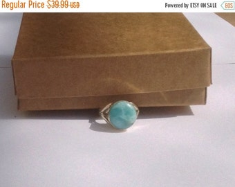 ON SALE Larimar Jewelry Marbled Unisex Larimar ring size 7 3/4 Blue sky Larimar ring cabochon set in Sterling silver 925