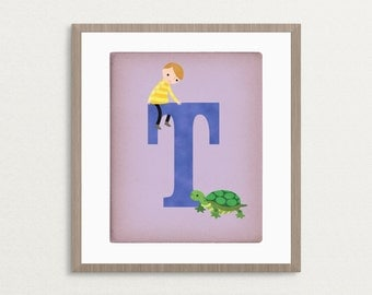 T is for Turtle - Customizable 8x10 Alphabet Art Print