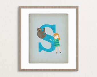 S is for Sloth - Customizable 8x10 Alphabet Art Print