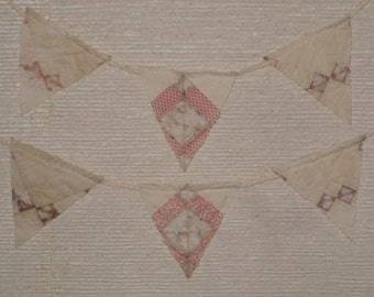 Primitive Pennant Banner Bunting Antique Quilt Early Old Fabrics Rustic Decor Nursery Cottage Cabin Decorations Ornaments