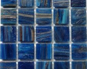 "20mm (3/4"") Cerulean Cobalt Blue and Gold Streaked Transparent Glass Mosaic Tiles//Mosaic Supplies//Mosaic Pieces"