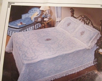 """Like New -  Bates - Double / Full Size - 1980s - """"Victoria"""" in Spice Brown - Matelasse - Bedspread and One Pillow  Sham / Cover- 100% Cotton"""
