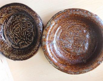 Altar Bowls Studio Pottery - Very Heavy - Shallow 8 x 2 inches - Stoneware Brick Glaze