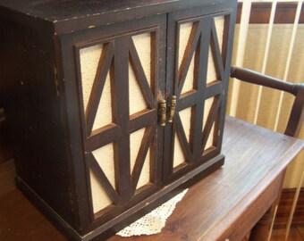 Vintage Large Wood Jewelry Box, Black / White, Rustic, Unique, Japan, Primitive Box, Jewelry Storage