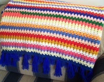 Vintage Crochet Afghan, Multi Colored Striped Afghan, Crocheted Afghan, Rainbow Colors