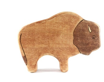 bison wooden waldorf toy, wooden bison figurine, buffalo wooden toy, waldorf animal toys