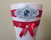 Red Valentines Day Wedding Garter Set, Red Lace, Champagne Garter with Bling, Vintage Rustic Garters, Winter Country Bride