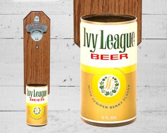 Ivy League Wall Mounted Bottle Opener with Vintage Beer Can Cap Catcher - Great College Grad Gift