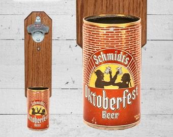 Man Cave Beer Gift Oktoberfest Bottle Opener with Vintage Schmidt Beer Can Cap Catcher - Great Gift for Groomsmen