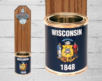Wisconsin Wall Mounted Bottle Opener with State Flag Bottle Cap Catcher - Beer Bottle Opener - Groomsmen and Housewarming Gift
