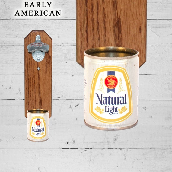 Natural Light Wall Mounted Bottle Opener With Vintage Natty