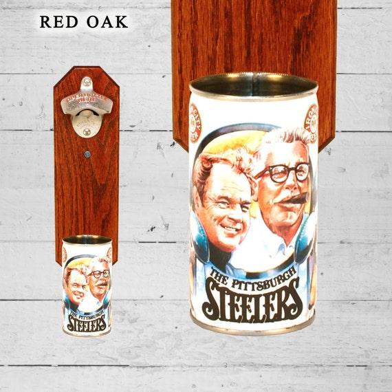 Retro Bottle Opener Iron City Vintage Chuck Noll & Dan Rooney Steelers Beer Can Cap Catcher - Great Groomsmen Gift