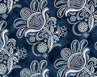 Ceylon - Paisley Floral in toil in Navy by Quilting Treasures - by the yard