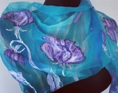"Lily of the Valley hand painted silk chiffon long scarf. Turquoise, mint green silk shawl. Artists scarf 18"" x 71"", birthday gift for her"