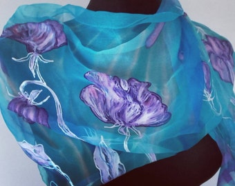 "Sweet Pea hand painted silk chiffon long scarf. Turquoise blue and purple silk shawl. Artists scarf 18"" x 71"", birthday gift for her"