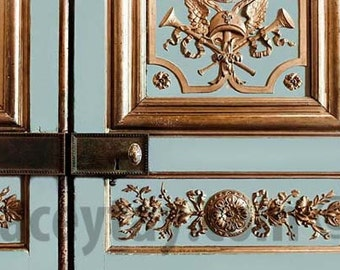 Gold & Blue Door Photo, Versailles Palace, Blue Door, French Decor, Baroque Architecture, Paris Print