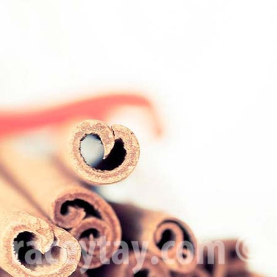 Cinnamon Print, Kitchen Wall Art, Brown, White, Neutral, Food Photography, Shabby Chic Kitchen