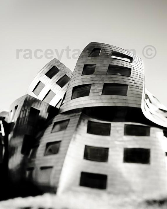 Architecture Print, Office Decor, Silver, Gray, Modern, Abstract, Frank Gehry, Nevada Cleveland Clinic Building