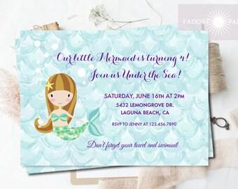 Mermaid Birthday Invitation, Printable Mermaid Birthday Party Invite, Watercolor, Mermaid Invitation Birthday, Under the Sea, jadorepaperie
