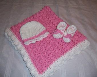 Crochet baby girl blanket set, pink, white, baby shower gift