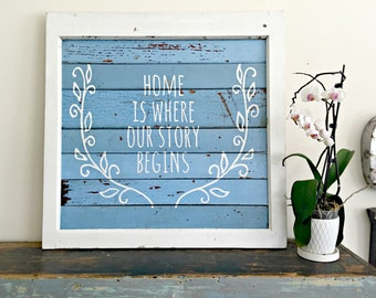 Home Is Where Our Story Begins- Reclaimed Barn Wood Sign- Antique Window Frame - Shabby Chic Wall Art