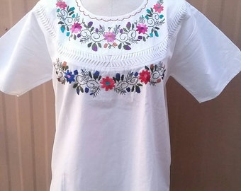 Medium Peasant Cotton Hand Floral Embroidered Blouse Top