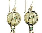 Sterling silver Earrings, shell and blue opal earrings,gemstone earrings, dangle earrings, organic long earrings - Tranquility E7850