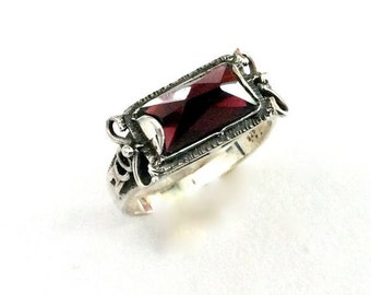 Gemstone ring, silver engagement ring, stone ring, sterling silver ring, red garnet ring, rectangle stone ring - The sky is the limit R1400