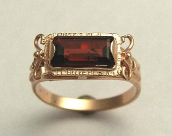 14K Rose Gold ring, Garnet Ring, rectangle gemstone ring, engagement ring, wedding ring, antique style ring - The sky is the limit. RG1400-2