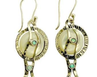 Sterling silver Earrings, coin pearl blue opal earrings,gemstone earrings, dangle earrings, organic long earrings - Tranquility E7850